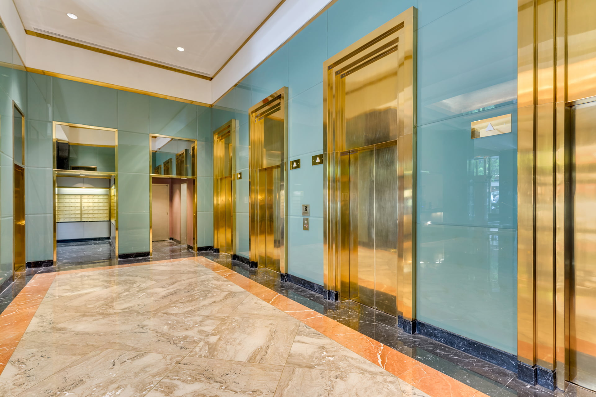 Symphony House elevator lobby and mailroom.