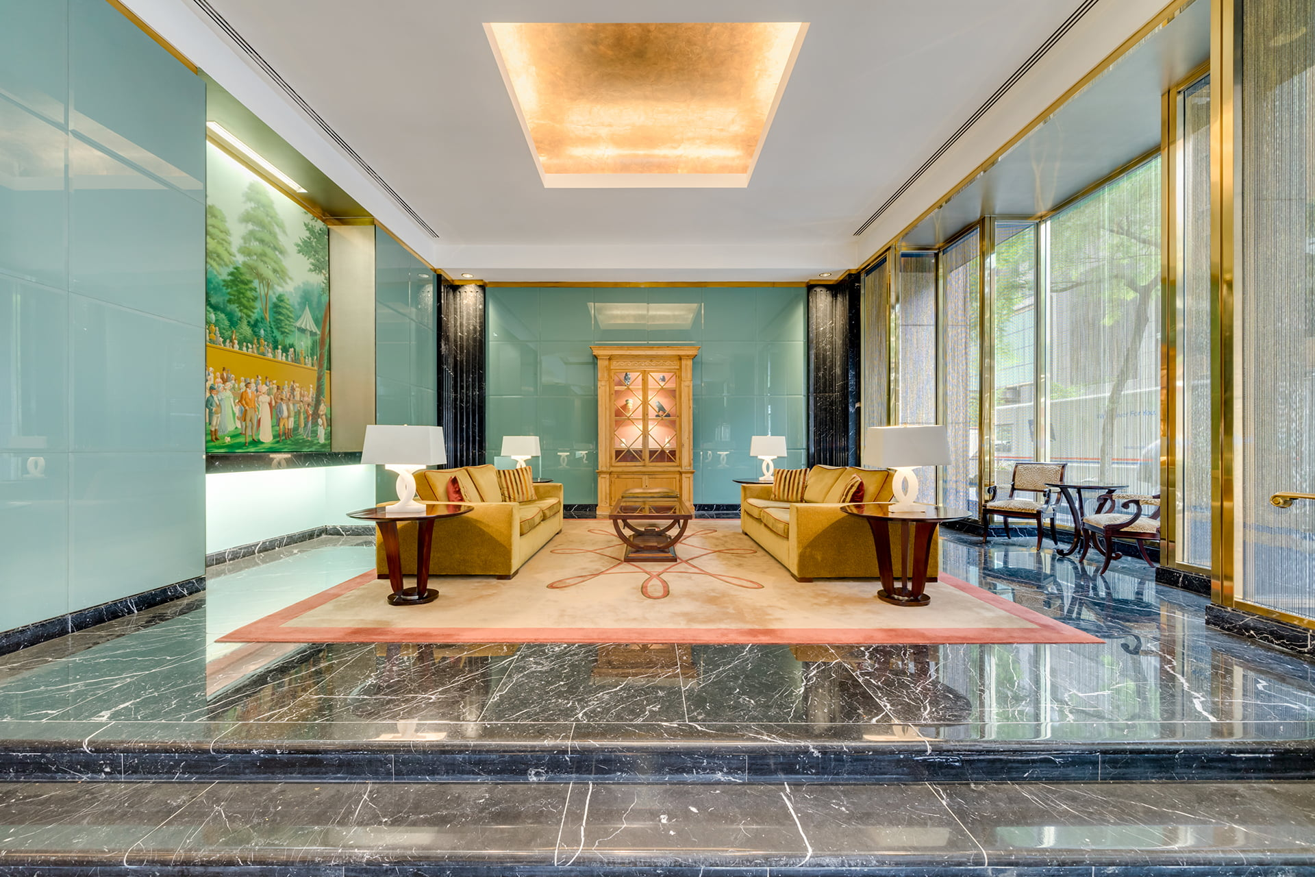 Lobby seating area at Symphony House.