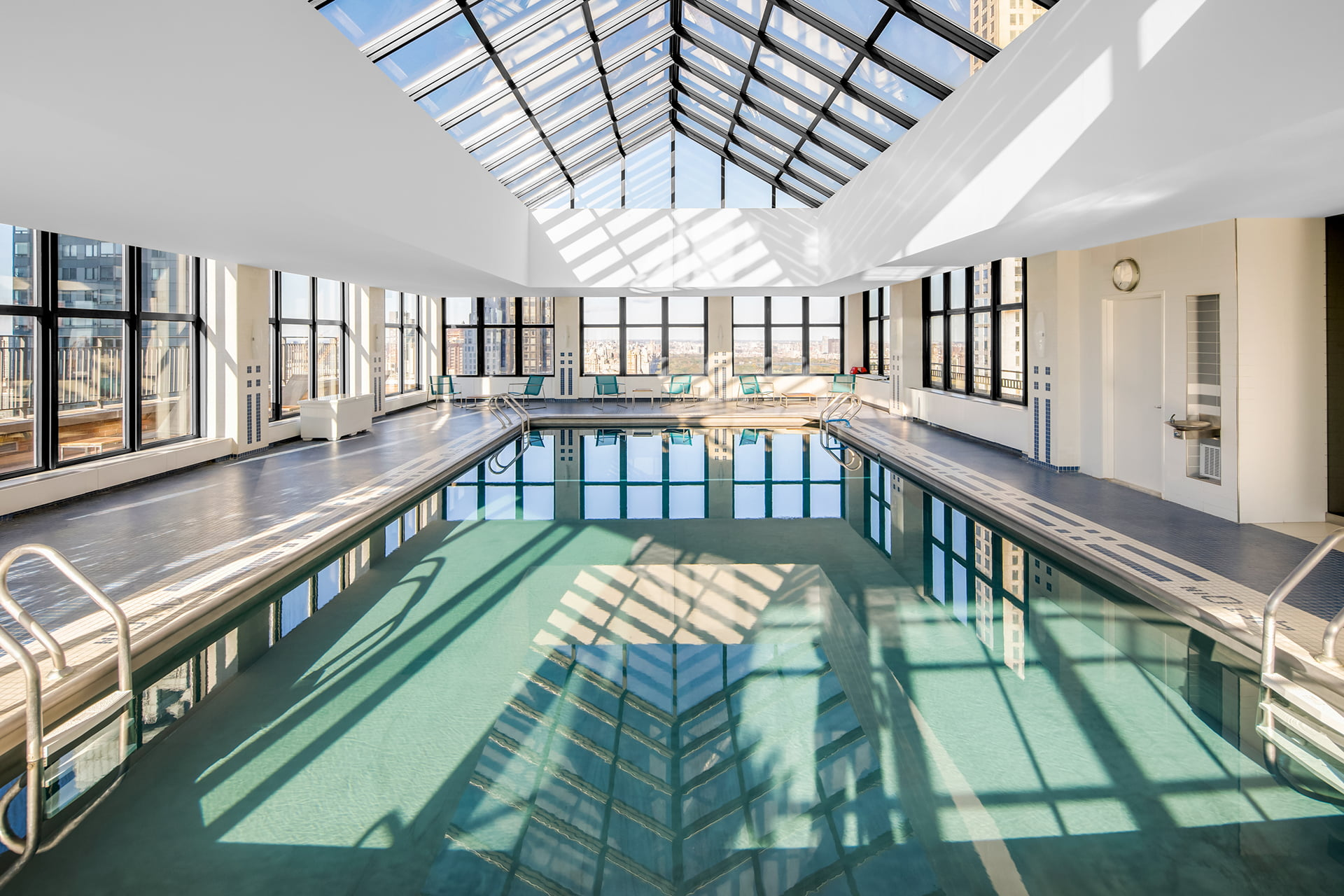 Symphony House indoor rooftop swimming pool.