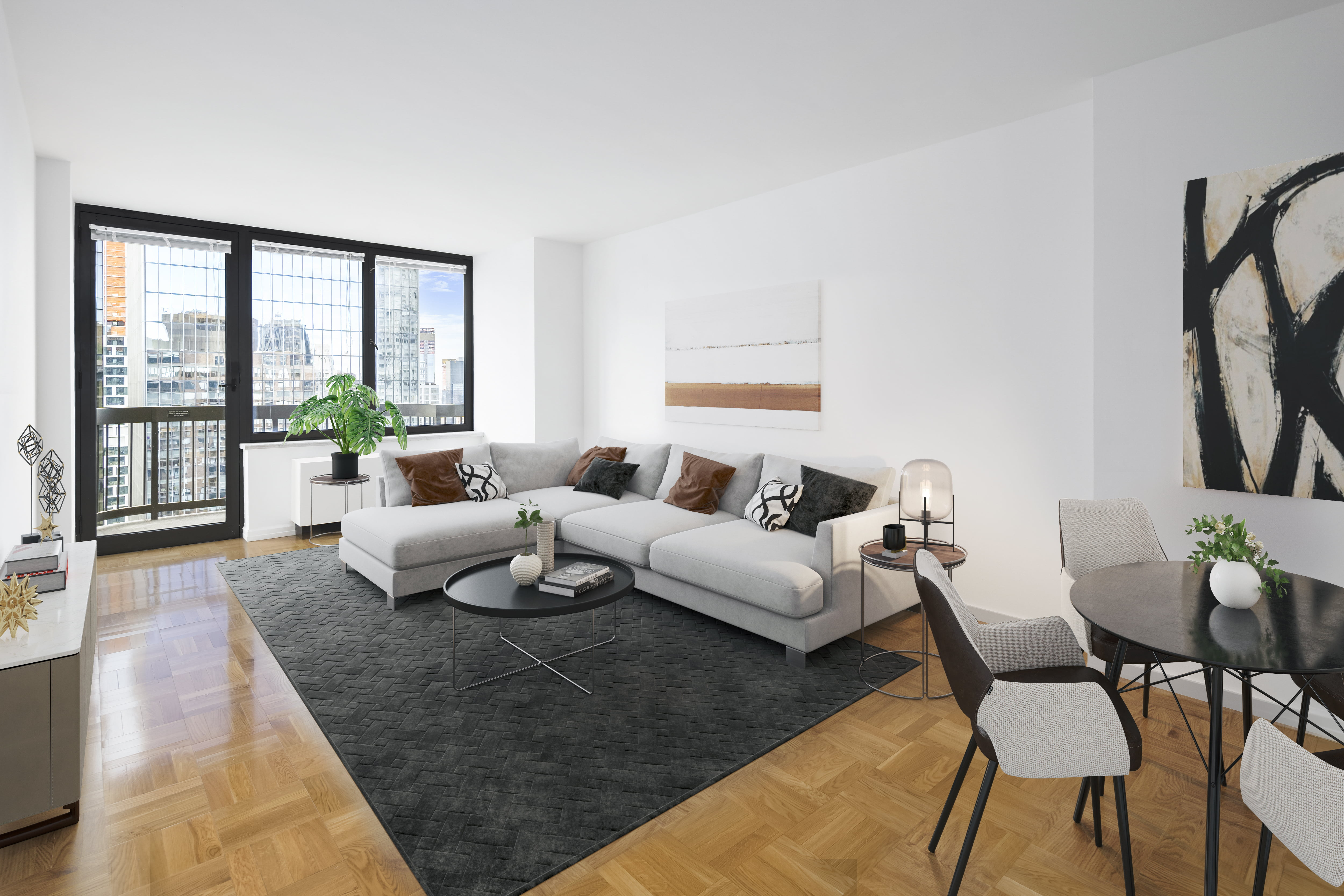 View of Symphony House apartment living room located at 235 West 56th Street