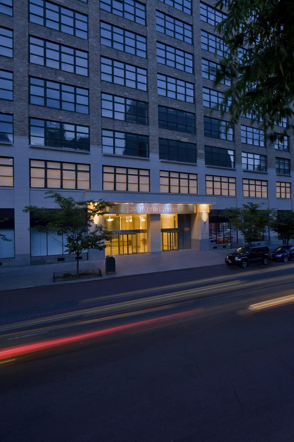 Night view of entryway at 250 Hudson Street at night