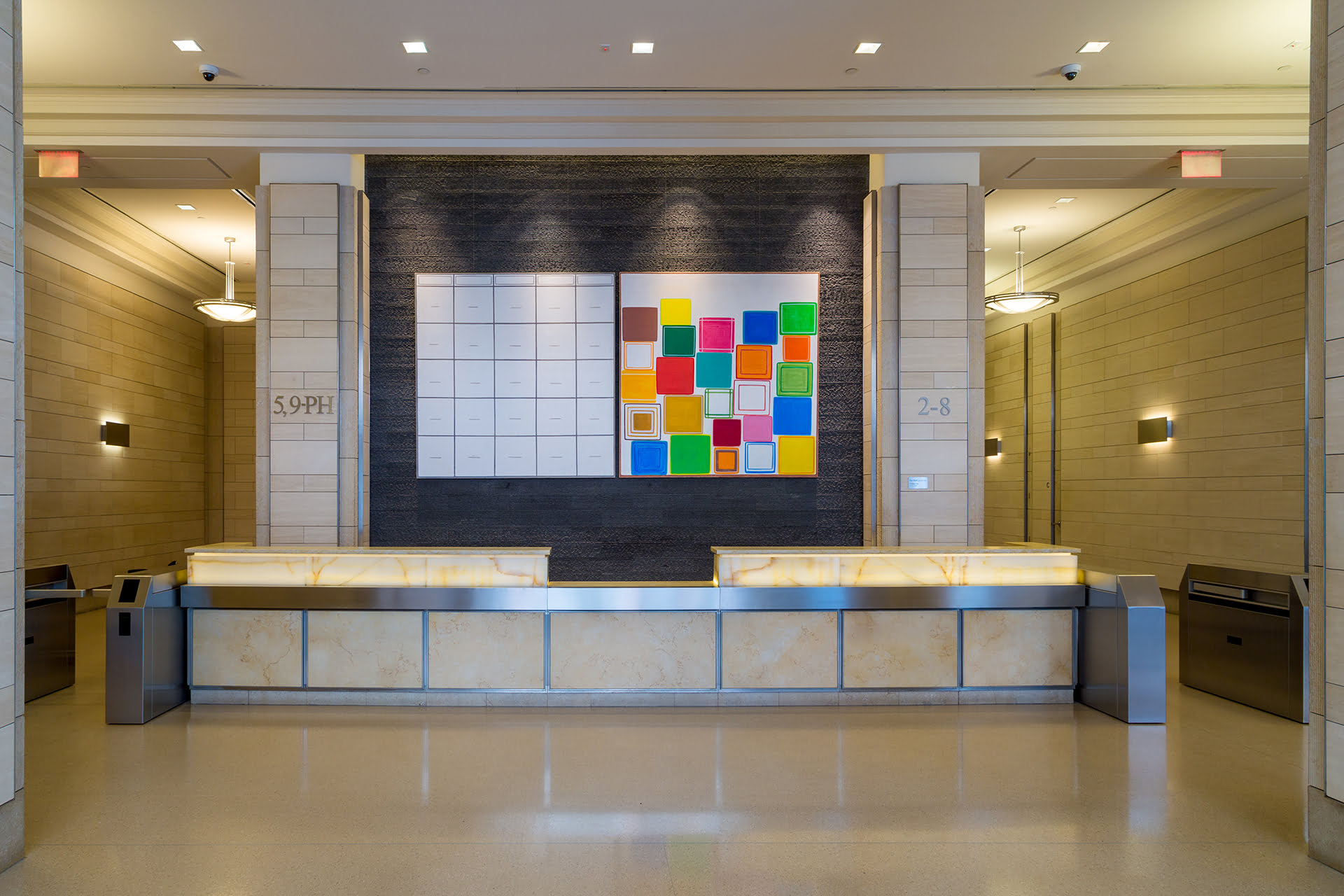 Interior lobby at 250 Hudson Street looking at front security desk