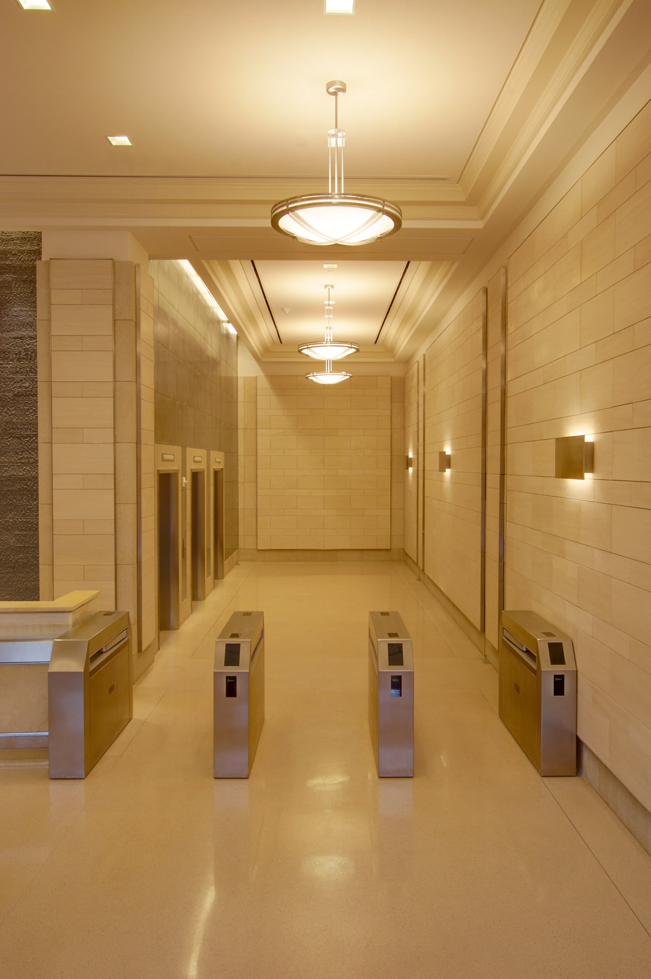 View of lobby security turnstiles at 250 Hudson Street