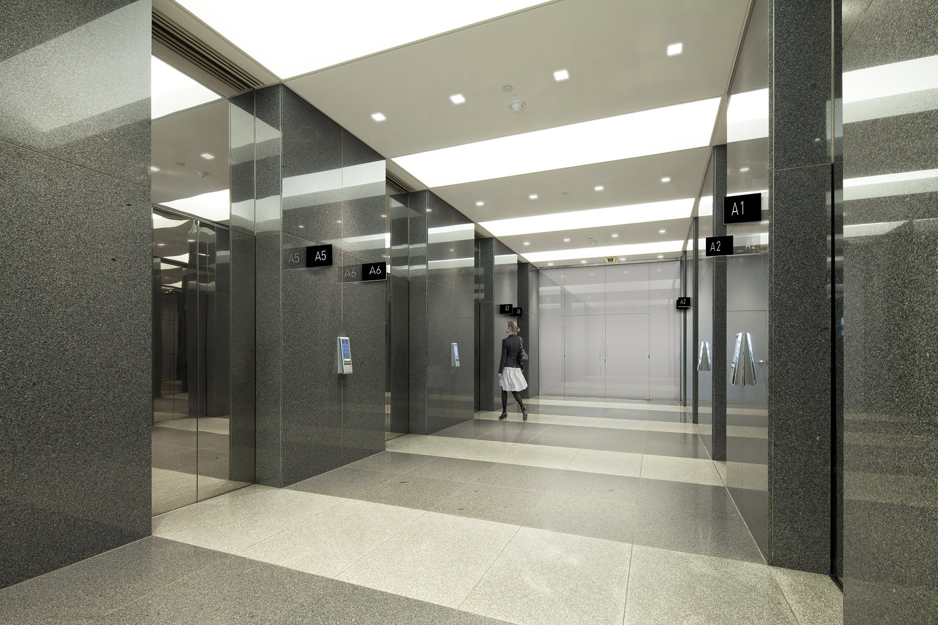 View of lobby elevator cabs at 255 Greenwich Avenue