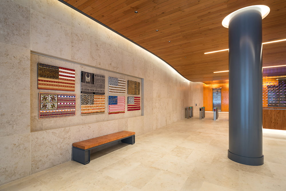 View of artwork by Muriel Stockdale displayed in the interior lobby of 315 Hudson Street.