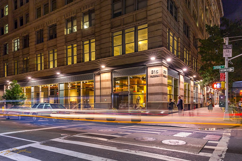 Night view of retail space at 315 Hudson Street