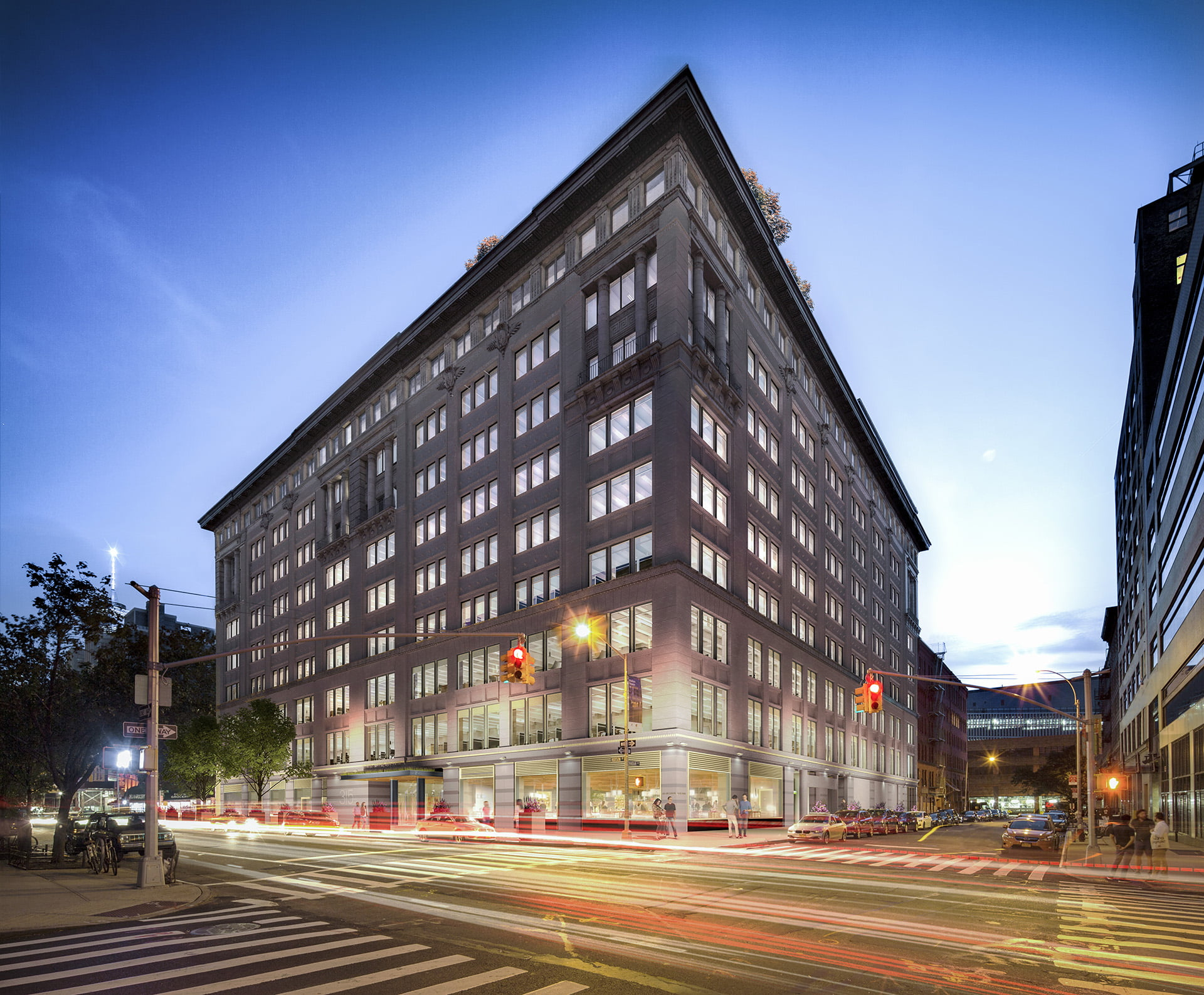 Night view of entire building at 315 Hudson Street