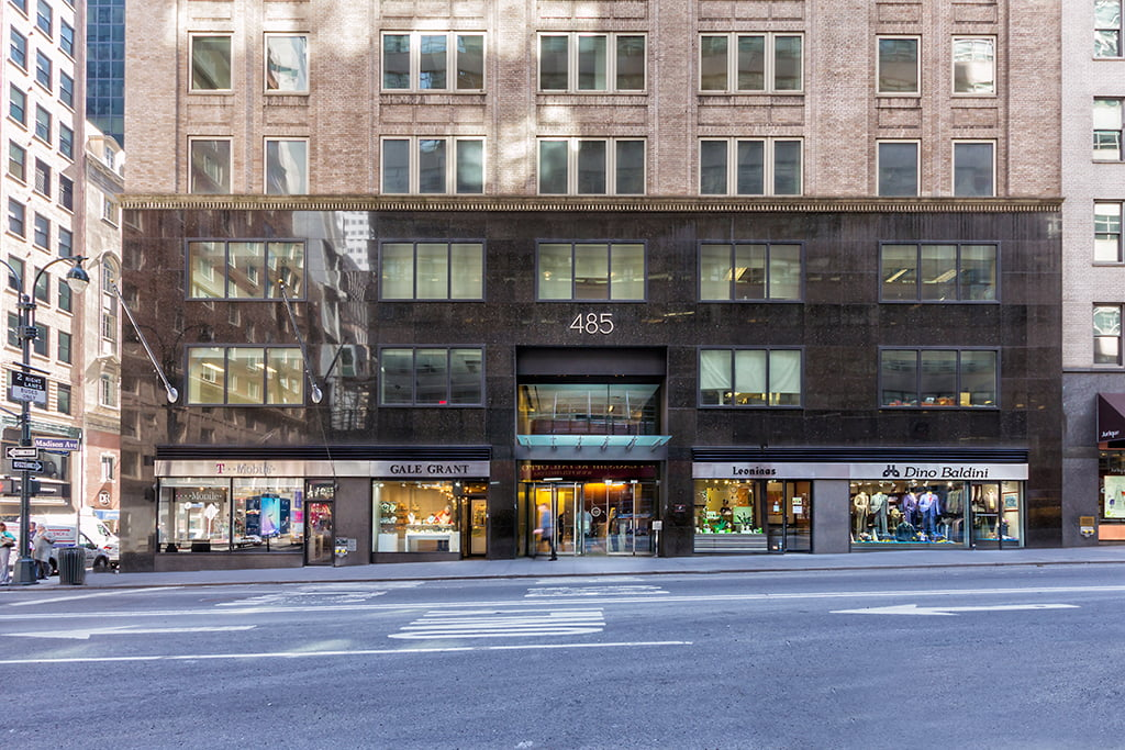 View of exterior entryway and retail space at 485 Madison Avenue