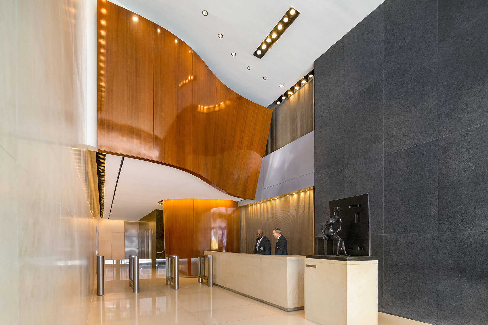View of interior lobby at 485 Madison Avenue