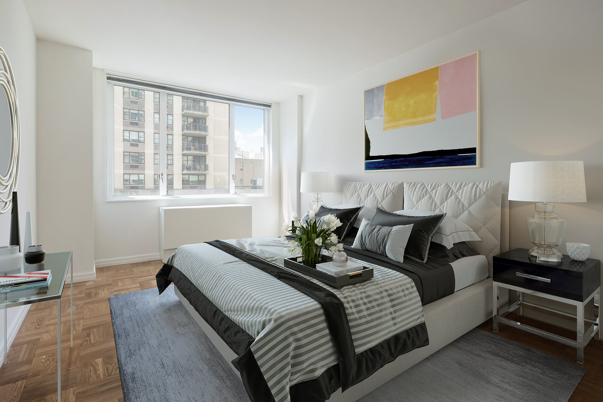 View of Gracie Mews staged bedroom located in the C line at 401 East 80th Street