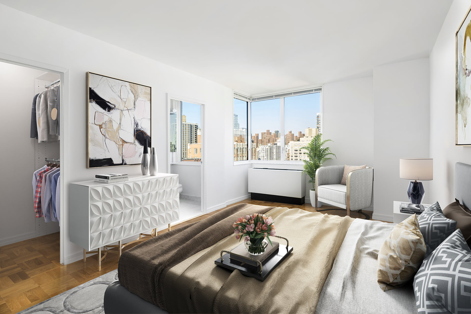 View of Gracie Mews staged bedroom located in the F line at 401 East 80th Street