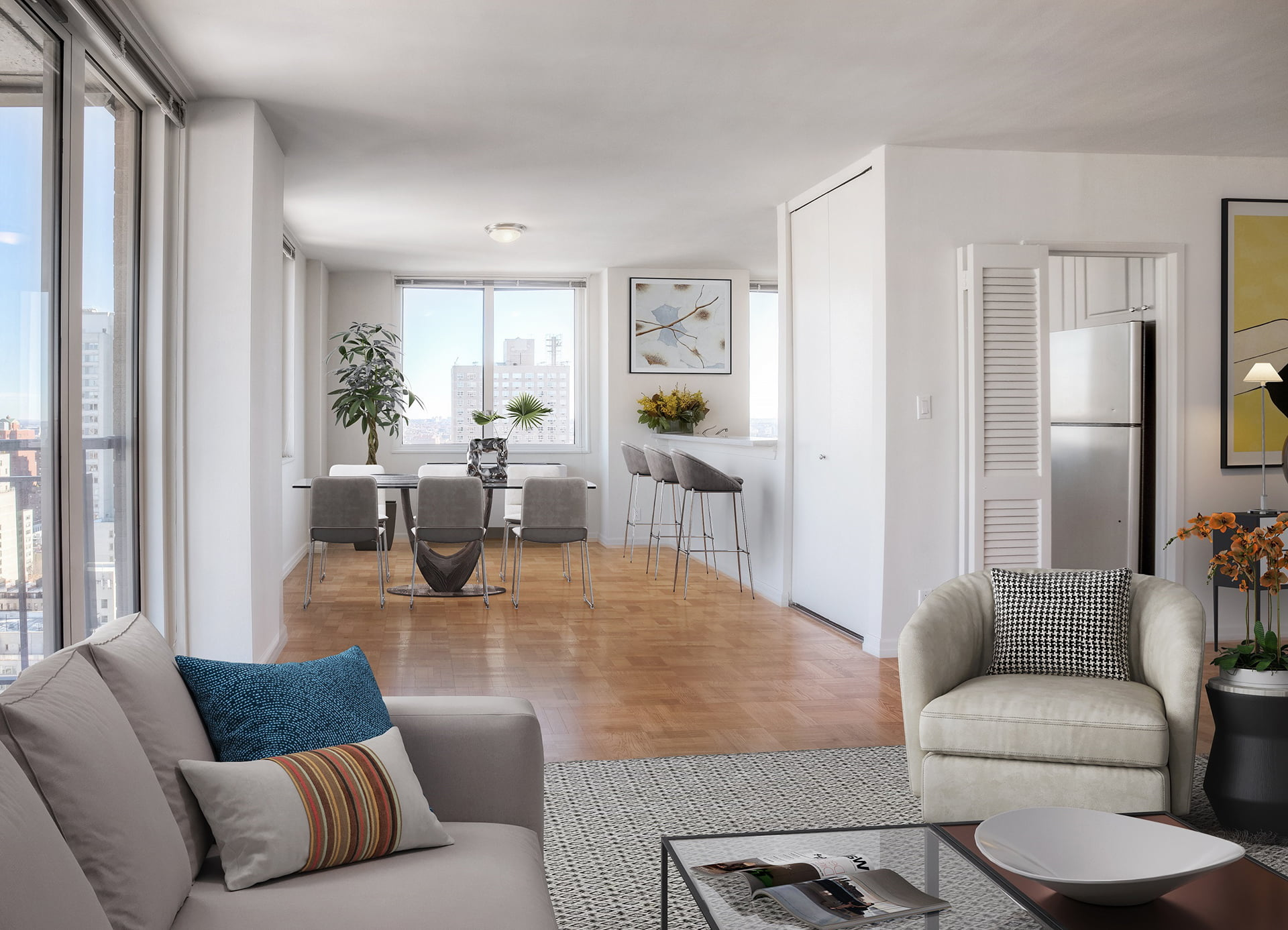 View of Gracie Mews staged apartment living dining room located in the G line at 401 East 80th Street