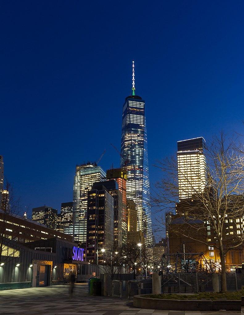 Night view of Tribeca skate park