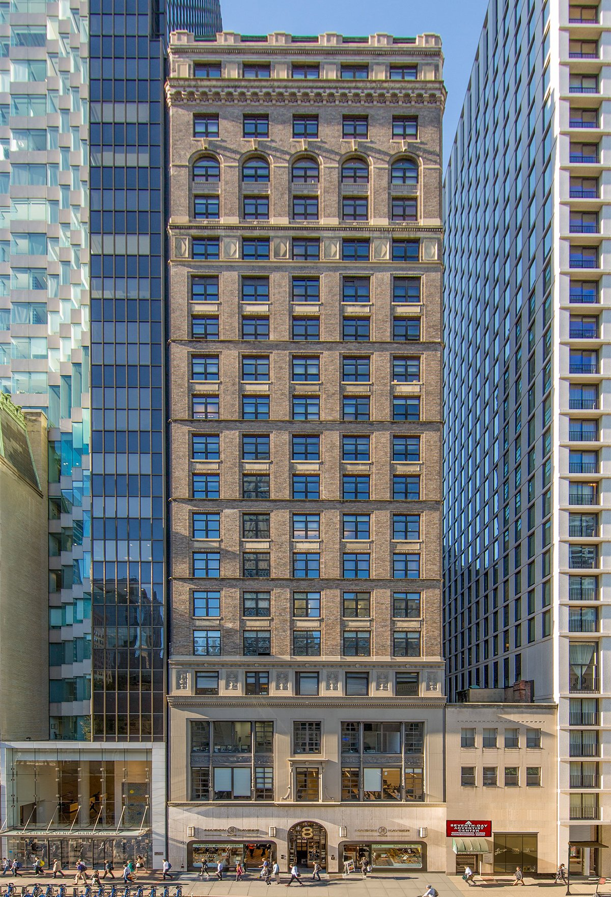 View of the exterior of 8 West 40th Street.